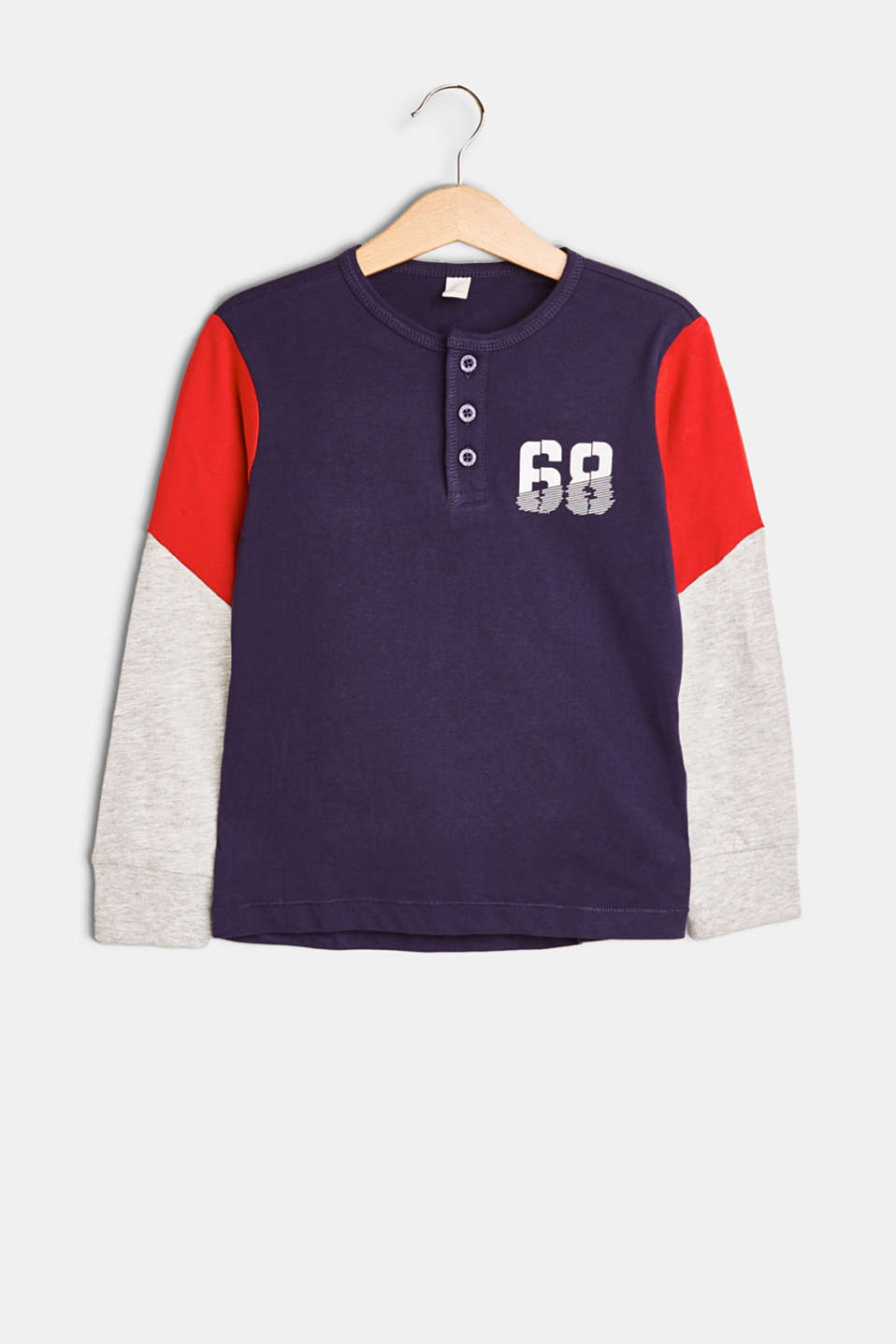Esprit - Long sleeve Henley T-shirt with number print, in jersey