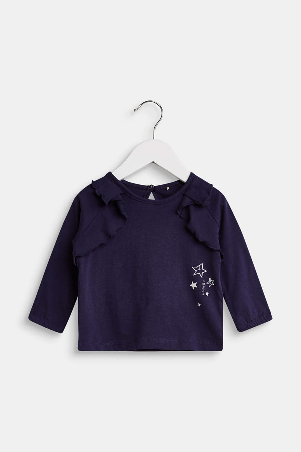 Esprit - Long sleeve top with frills, 100% cotton
