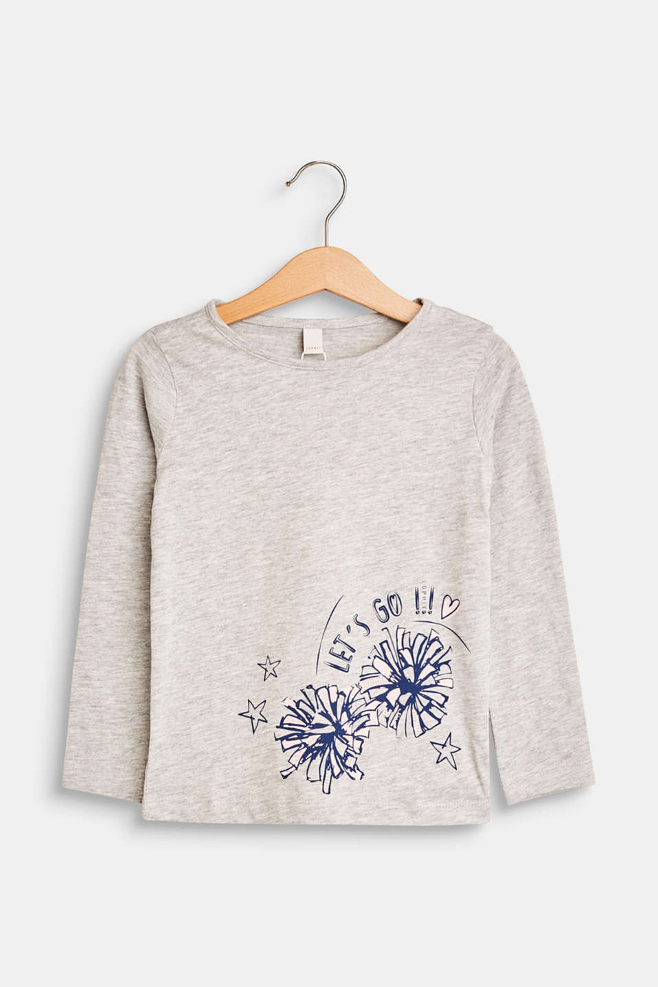 Esprit - Jersey long sleeve top with a print, 100% cotton