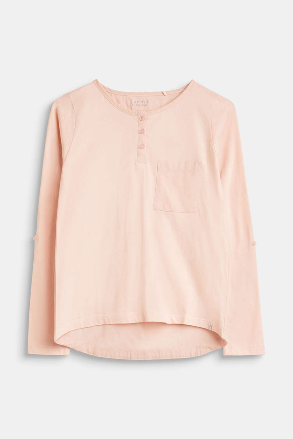 Esprit - Long sleeve top with a breast pocket, 100% cotton