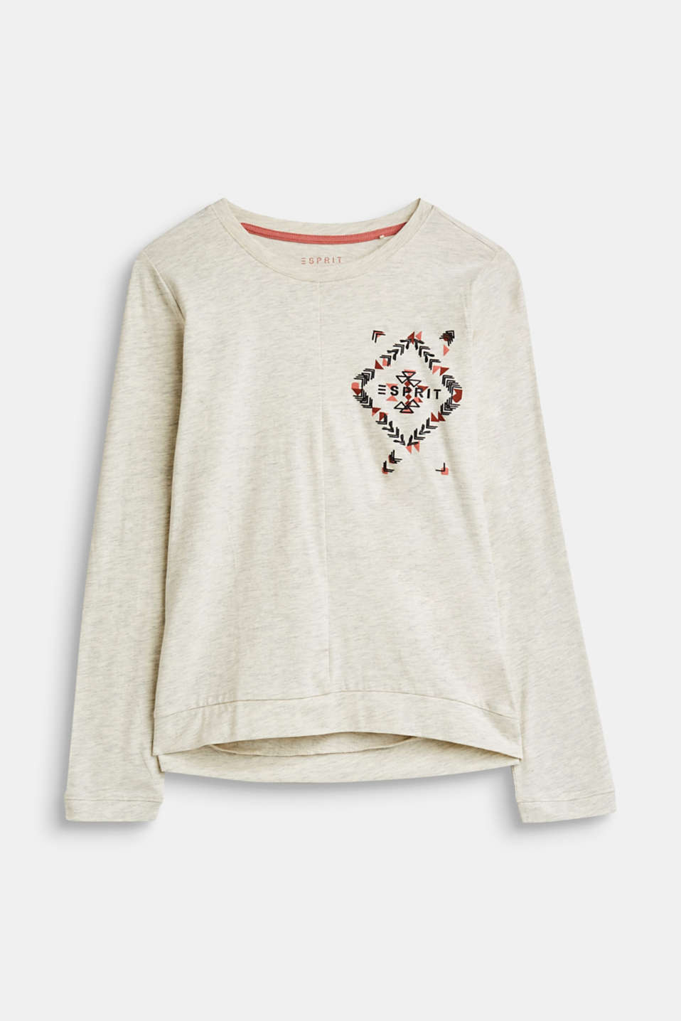 Esprit - Melange long sleeve top with a glittering tribal print