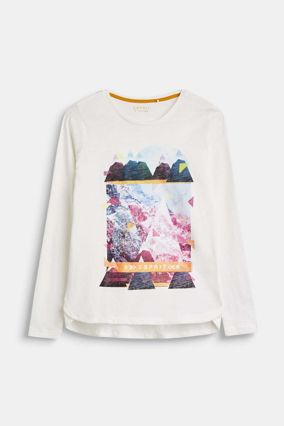 Esprit - Printed long sleeve top in slub jersey made of 100% cotton