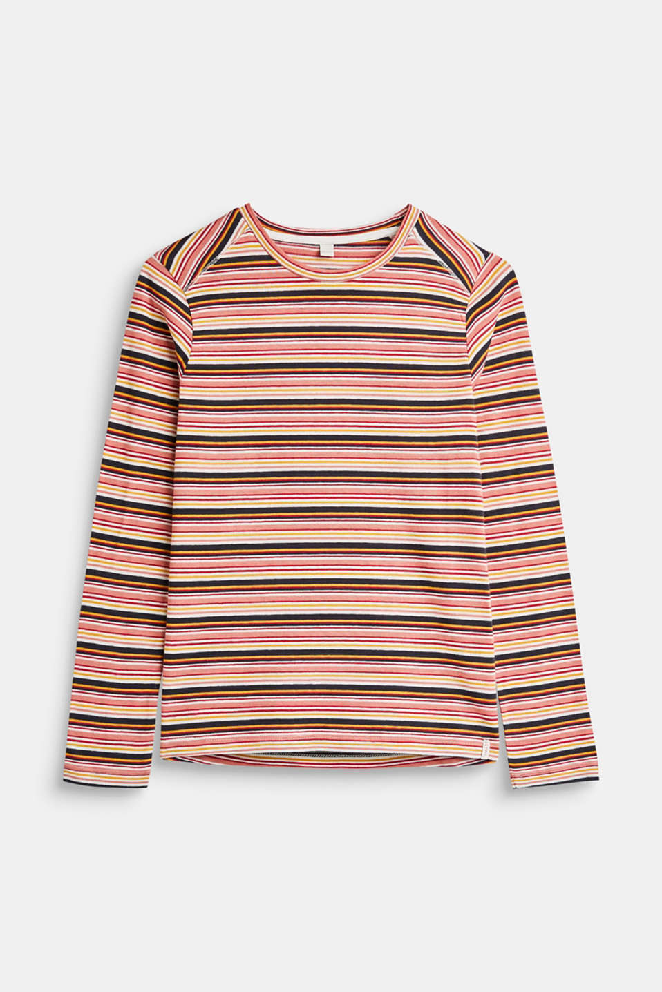 Esprit - Long sleeve top with multi-coloured stripes, 100% cotton