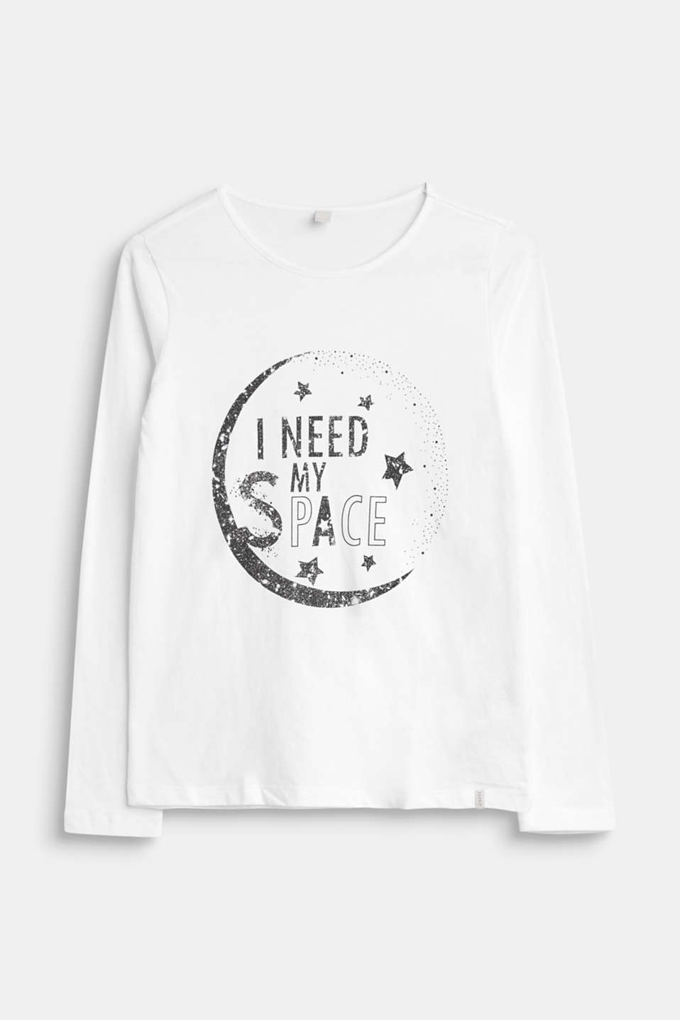 Esprit - Long sleeve top with a space motif, 100% cotton