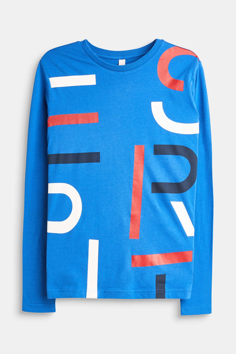 Esprit - Long sleeve top with logo print in 100% cotton