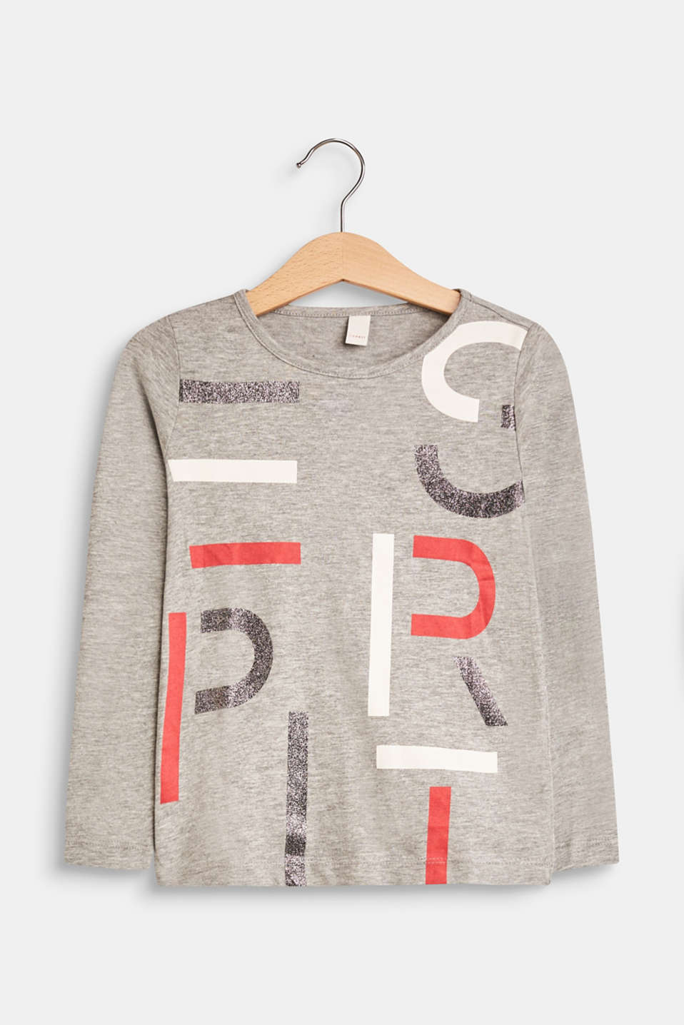 Esprit - Long sleeve top with shiny logo print, 100% cotton