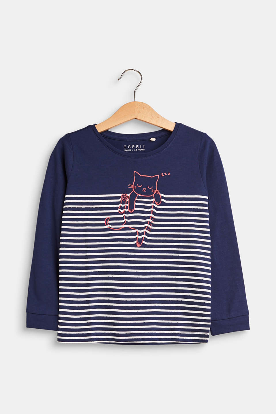 Esprit - Long sleeve top with a front print, 100% cotton