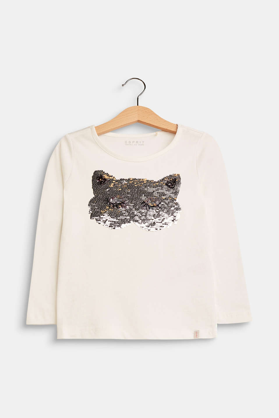 Esprit - Long sleeve top with reversible sequins, 100% cotton