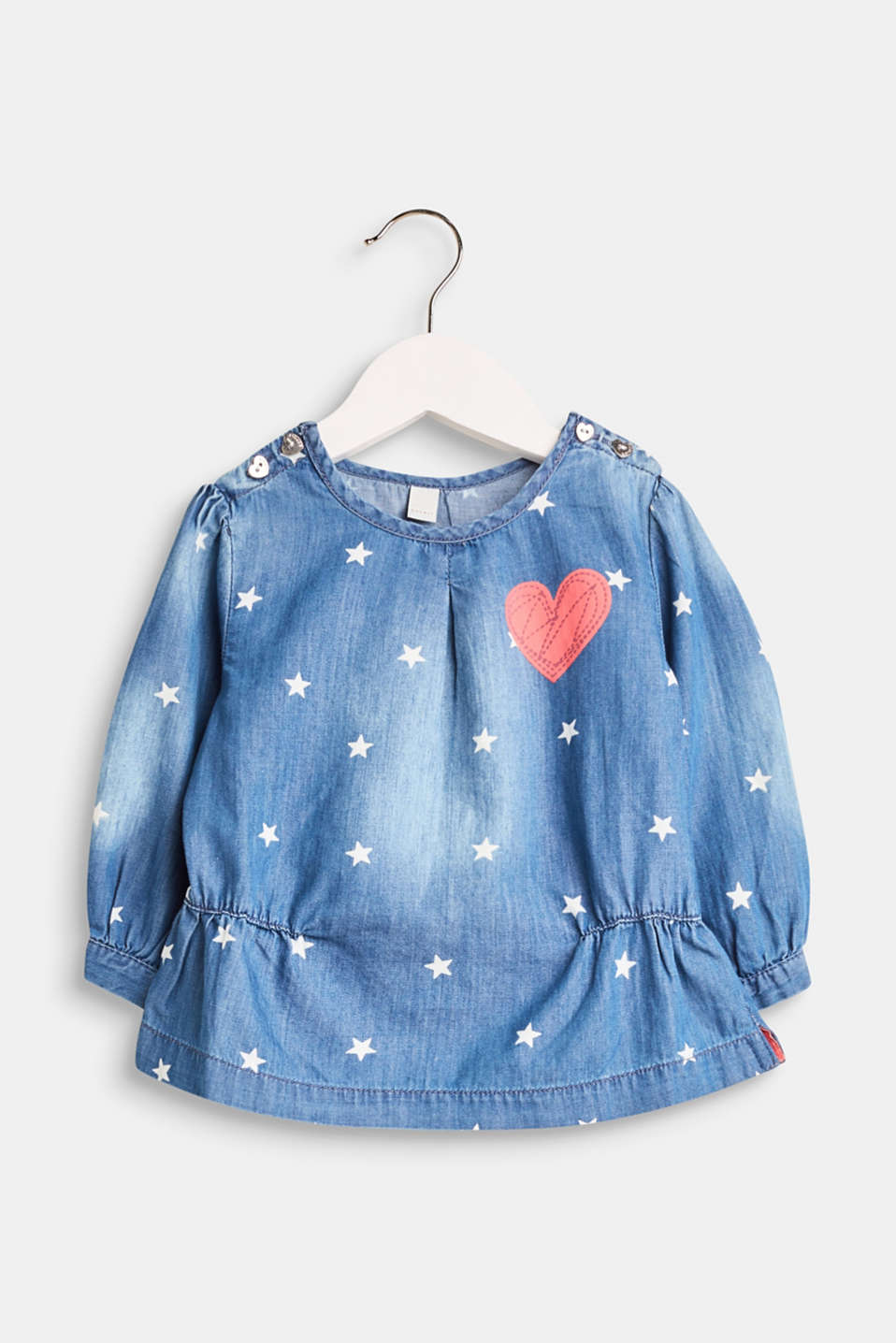 Esprit - Denim blouse with a star print, 100% cotton