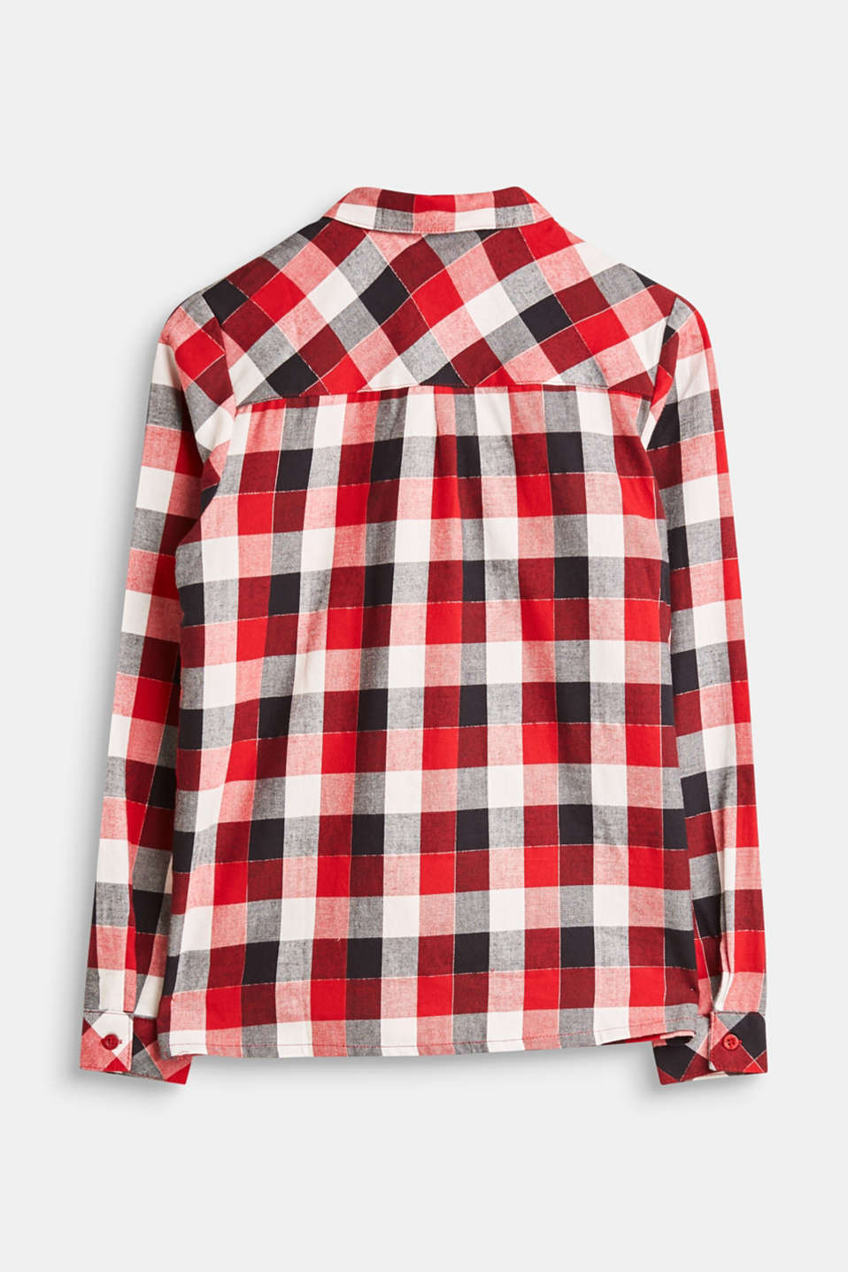 Cotton shirt with a check pattern and glittering fibres