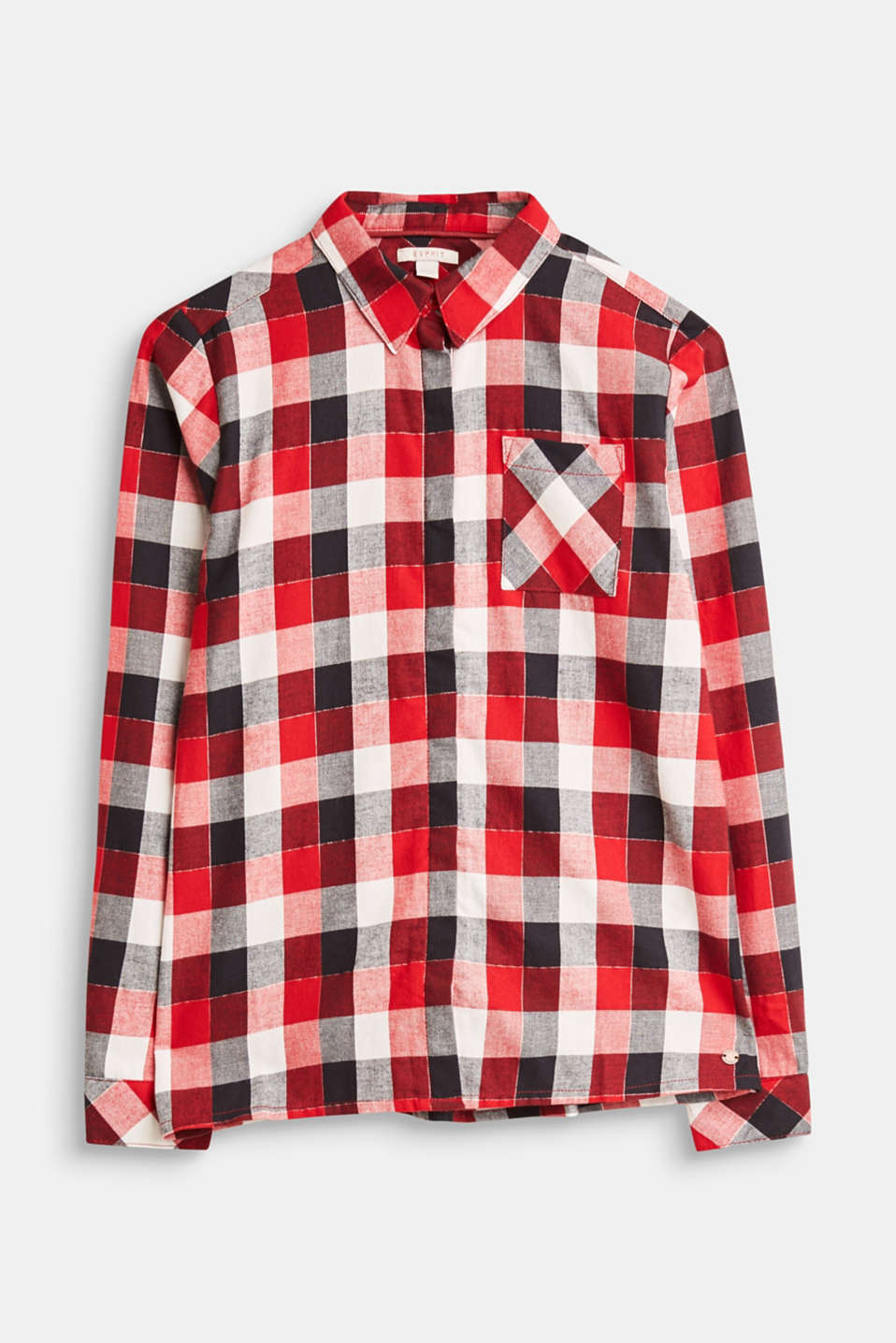 Esprit - Cotton shirt with a check pattern and glittering fibres