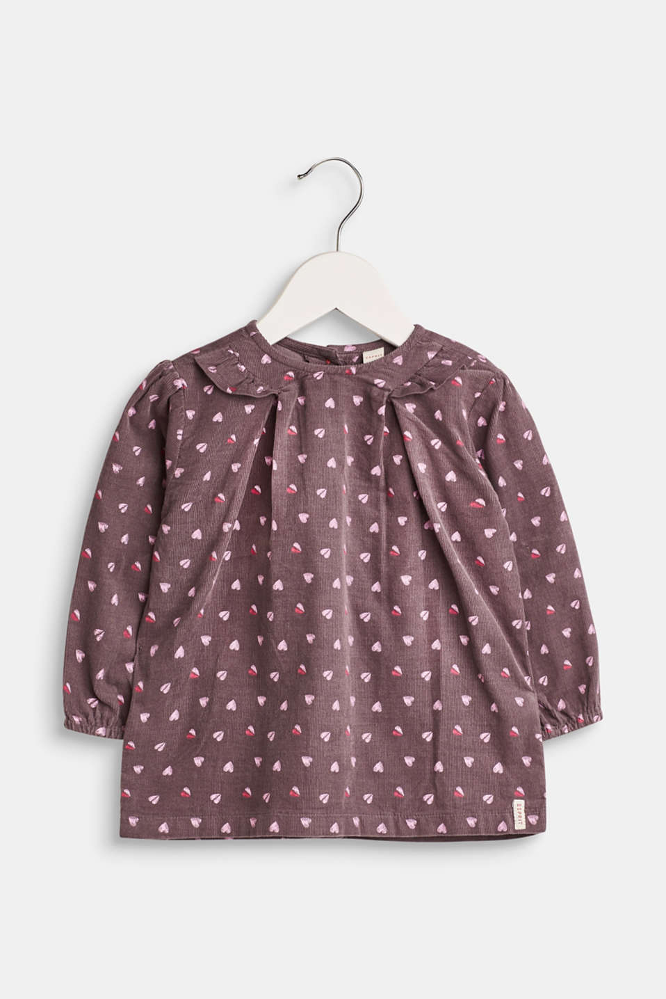 Esprit - Fine-cord blouse with a heart print, 100% cotton