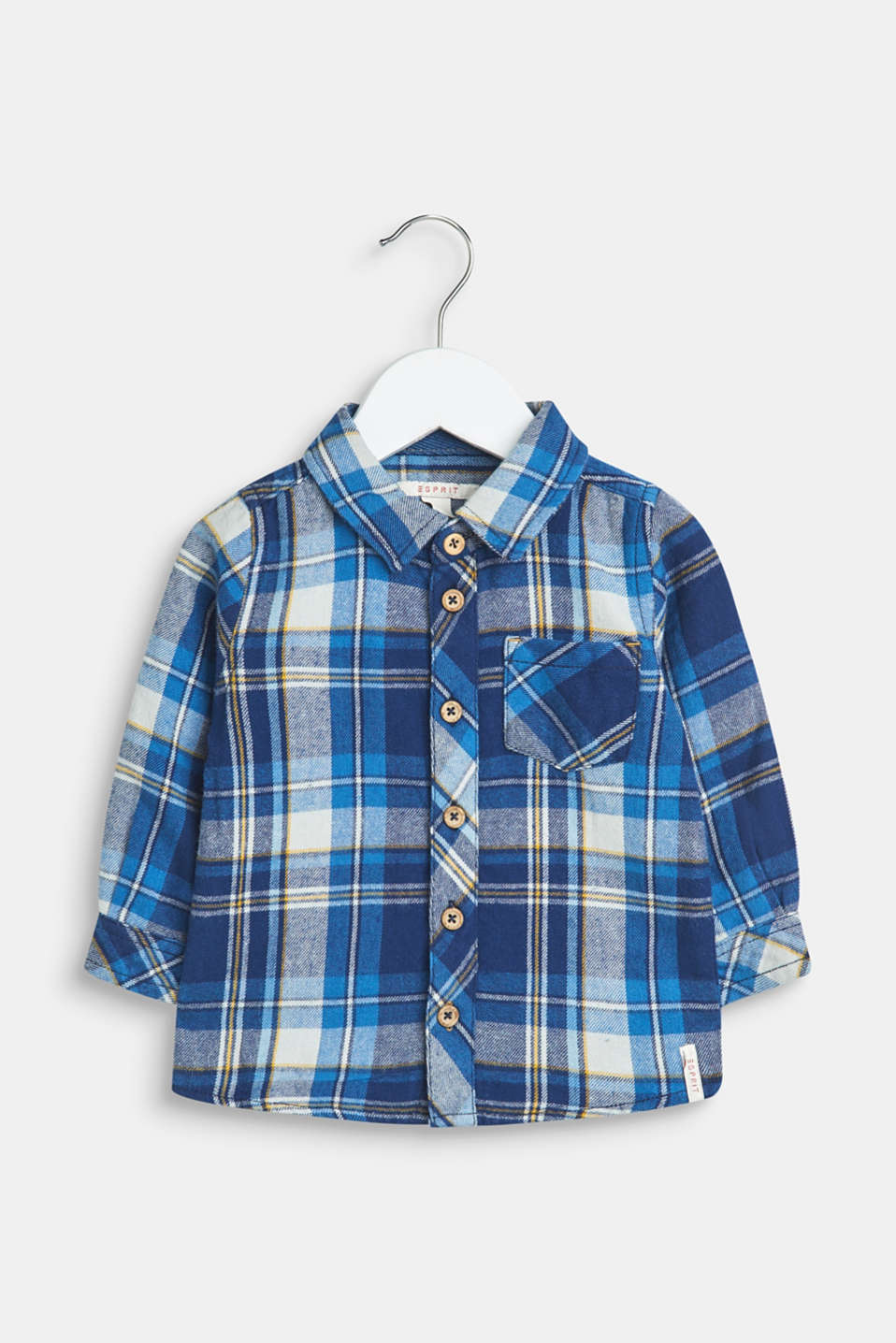 Esprit - Flannel shirt with checks, 100% cotton