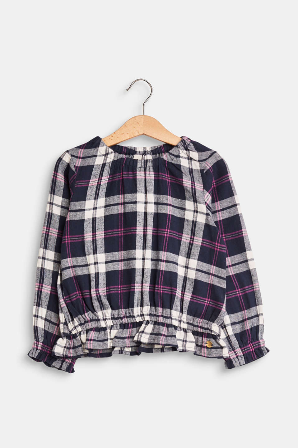 Esprit - Checked blouse with an elasticated hem, 100% cotton