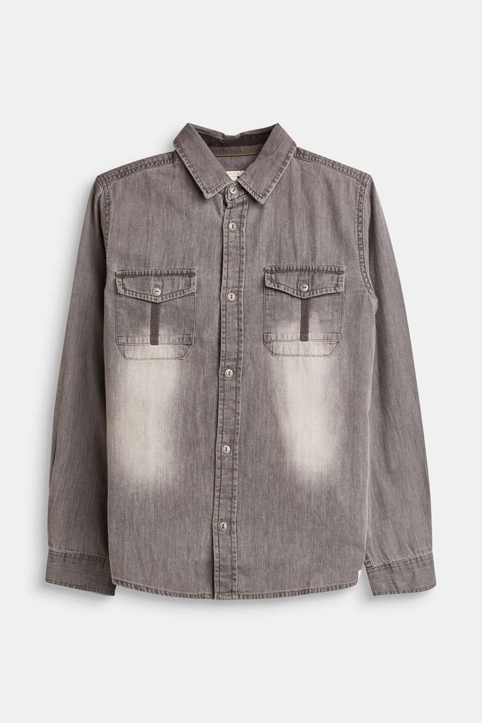 Esprit - Grey denim shirt with breast pockets, 100% cotton