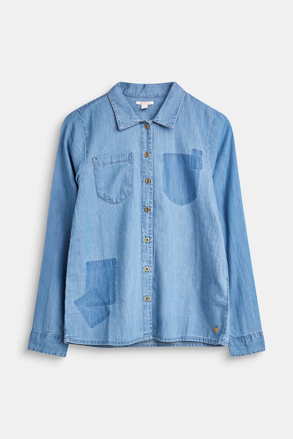 Esprit - Denim shirt with appliqués, 100% cotton