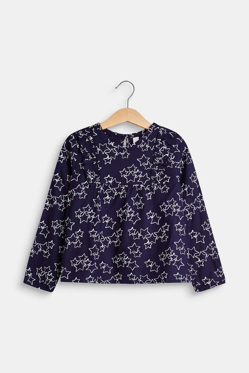 Esprit - Blouse with a star print and frills