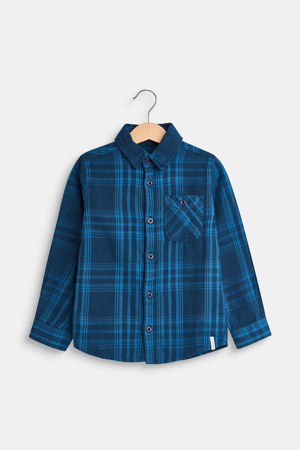 Esprit - Checked shirt with a breast pocket, 100% cotton