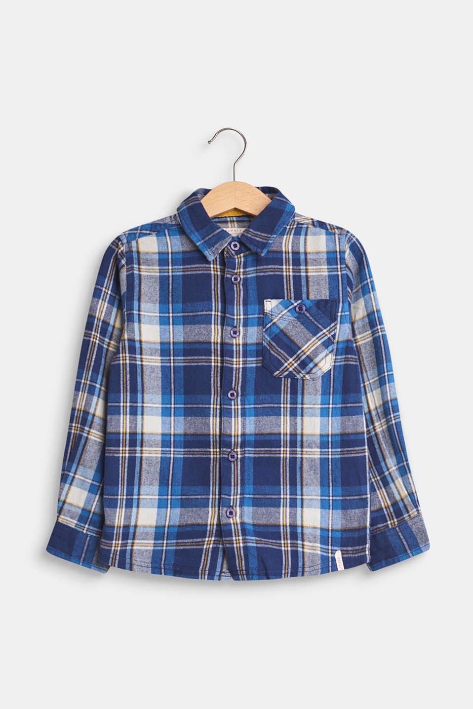 Esprit - Flannel shirt with a check pattern, 100% cotton