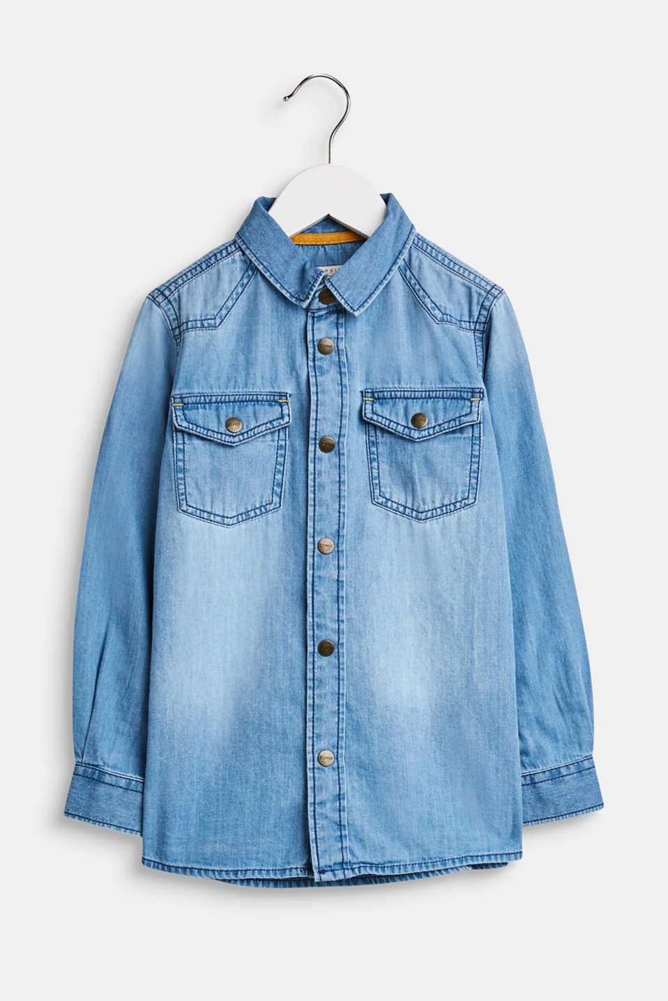 Esprit - Garment washed denim shirt, 100% cotton