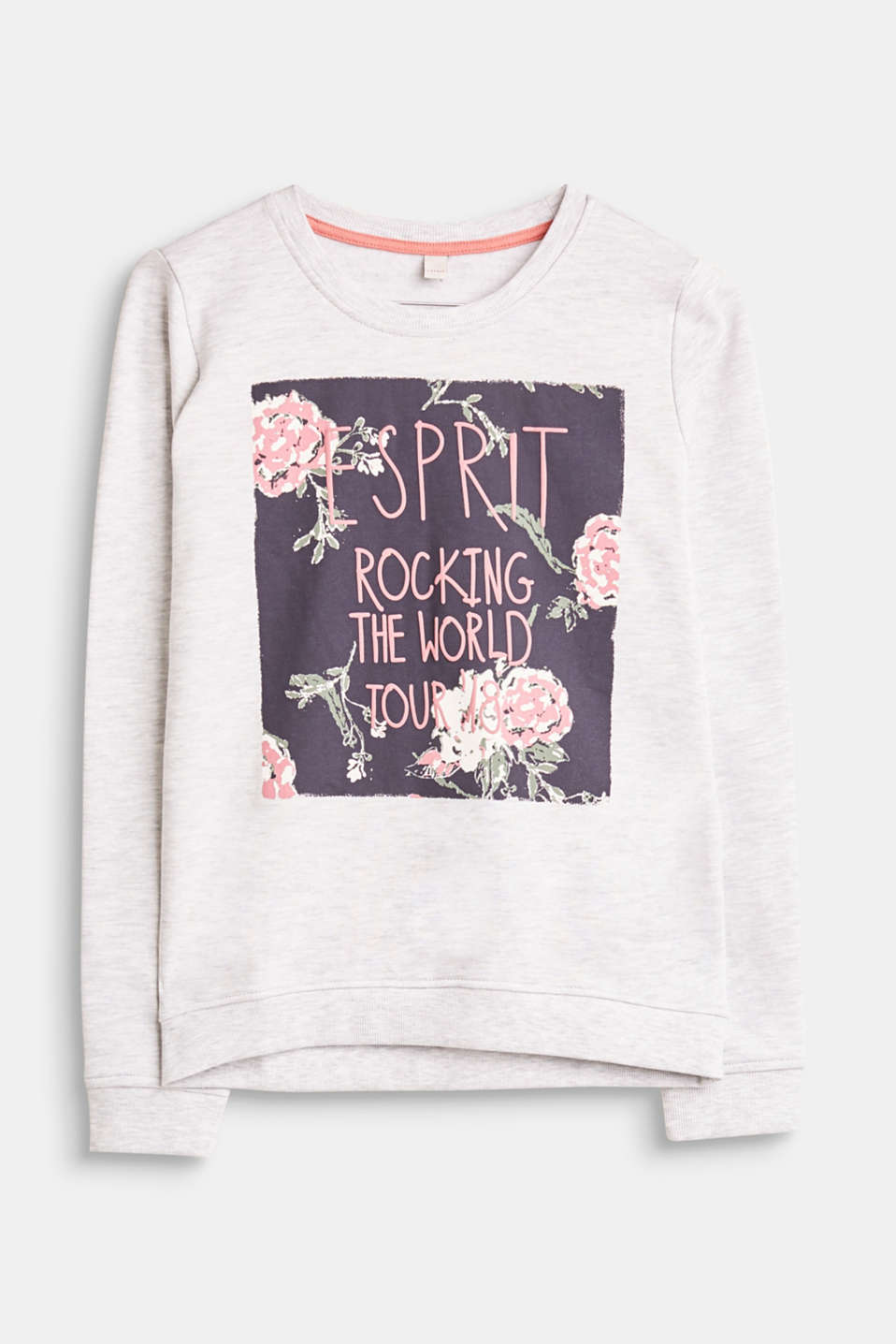 Esprit - Melange sweatshirt with a rubber-coated print
