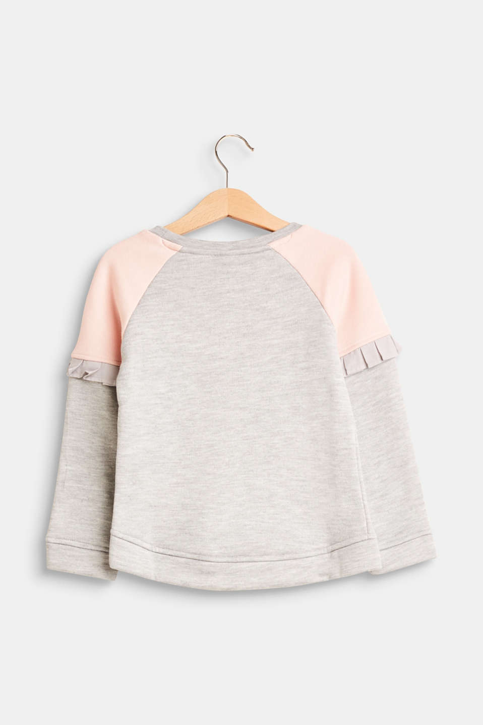 Colour block sweatshirt with fabric frills