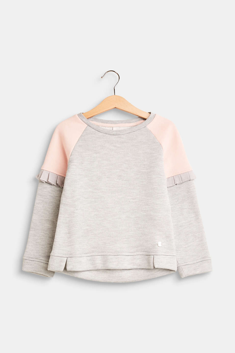 Esprit - Colour block sweatshirt with fabric frills