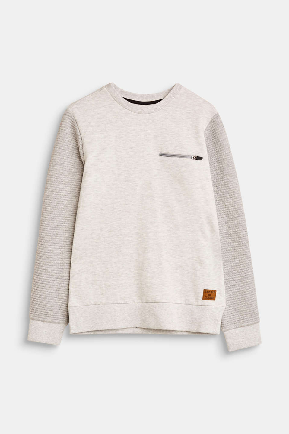 Esprit - Sweatshirt with ribbed details and a mock zip