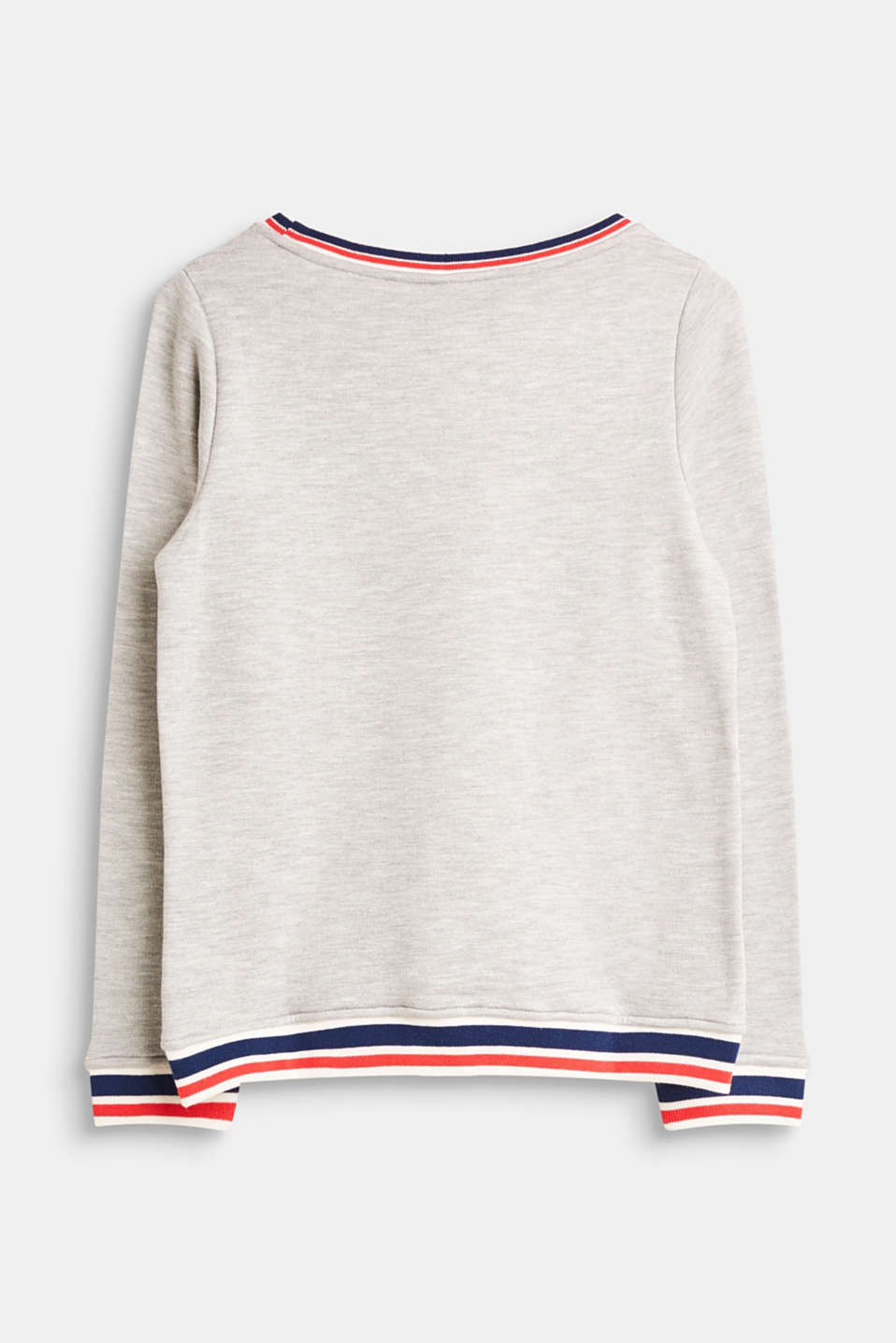 Mottled sweatshirt with striped borders