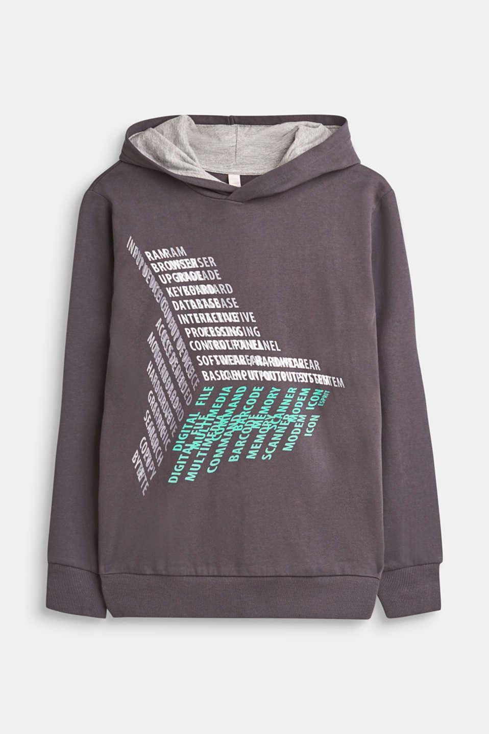 Esprit - Hoodie with a 3D front print, 100% cotton