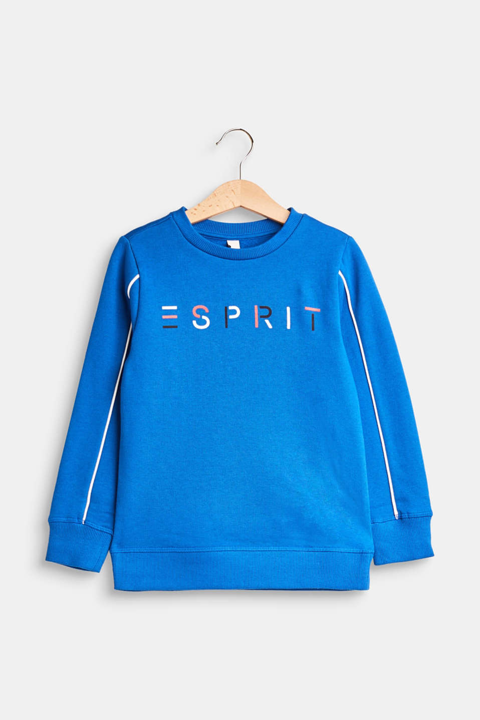 Esprit - Logo sweatshirt with piping, 100% cotton