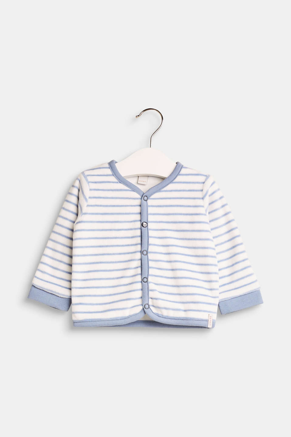 Tiny tots will feel simply wonderful in this striped cardigan made of extra-soft velour with premium organic cotton and a sweet press stud placket.