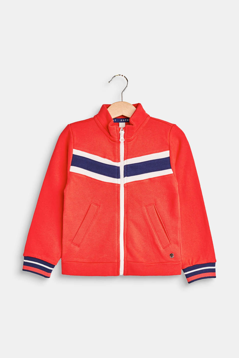This zip-up jacket features a sporty design and is mega comfy in cotton sweatshirt fabric and stands out with colour blocking and striped cuffs.
