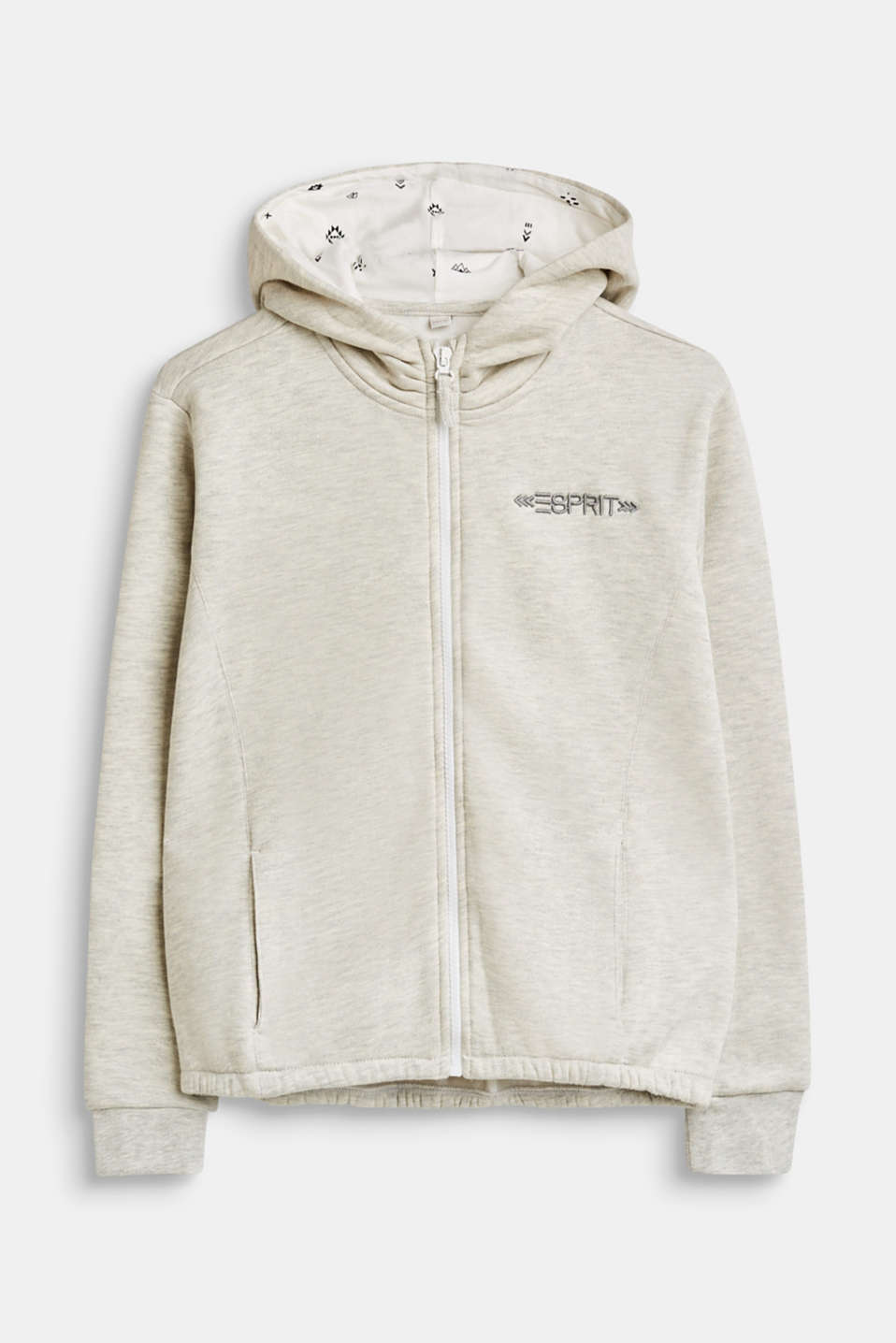 Esprit - Melange sweatshirt cardigan with hood