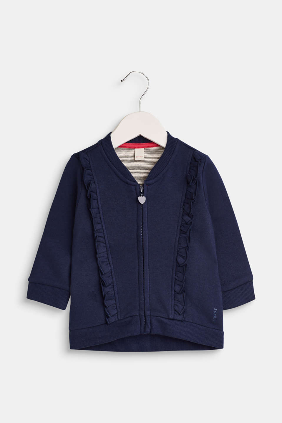 Esprit - Sweatshirt cardigan with frilled details, 100% cotton