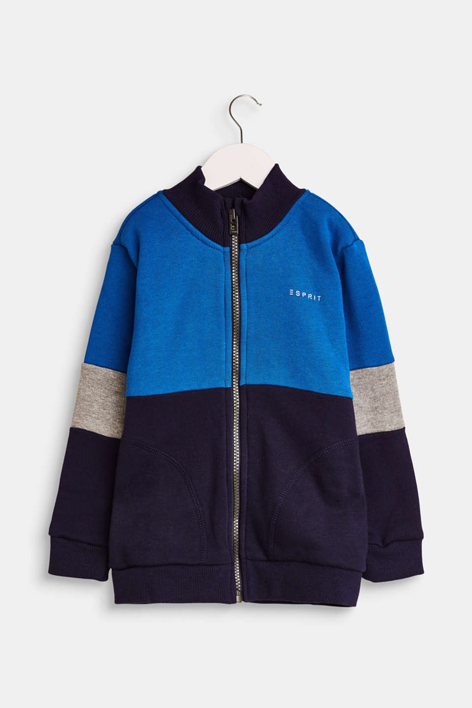Esprit - Colour block sweatshirt fabric cardigan composed of blended cotton