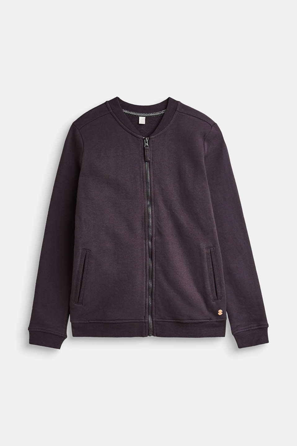 Esprit - Sweatshirt cardigan in a bomber jacket design, 100% cotton