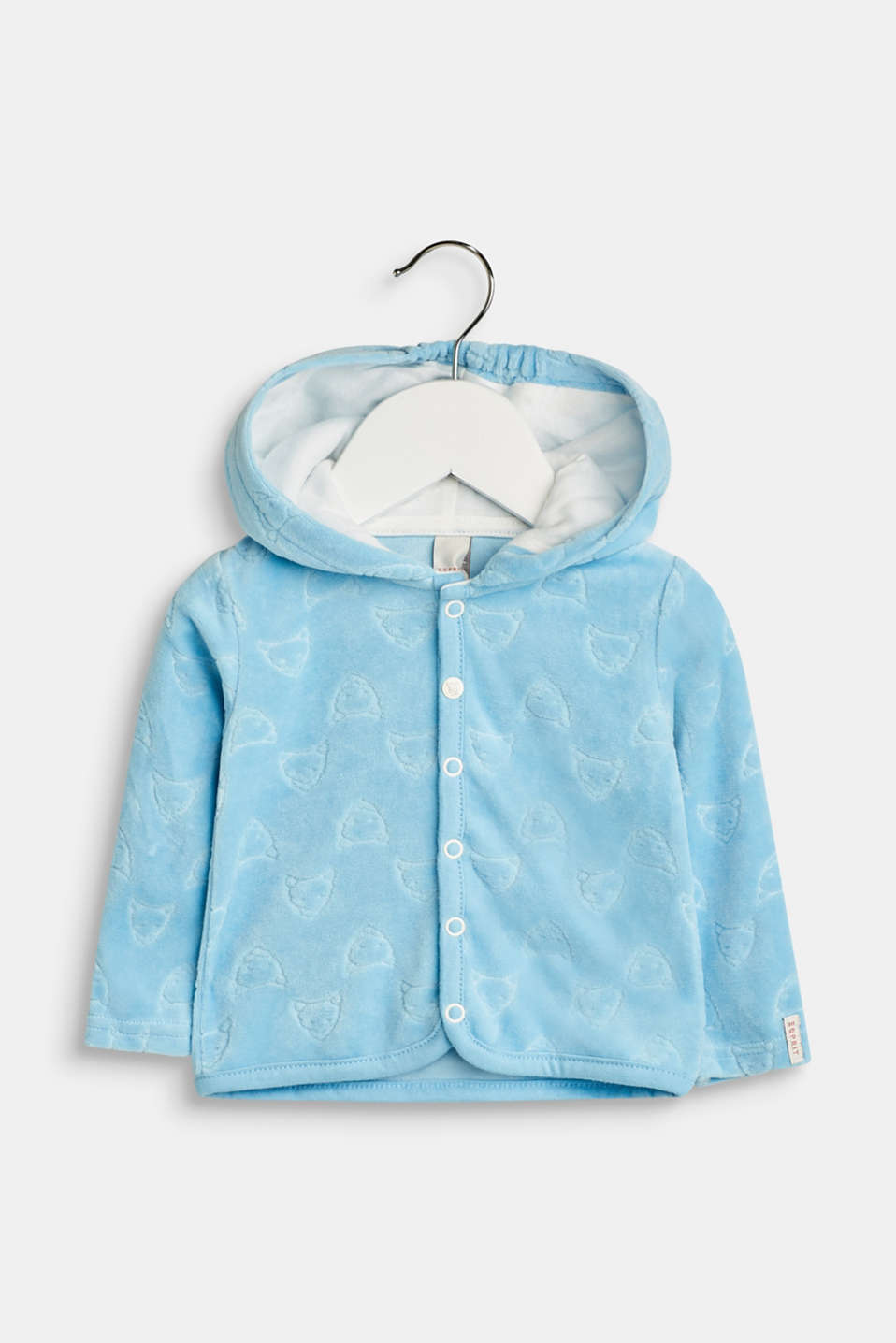 Esprit - Velour hooded cardigan containing organic cotton
