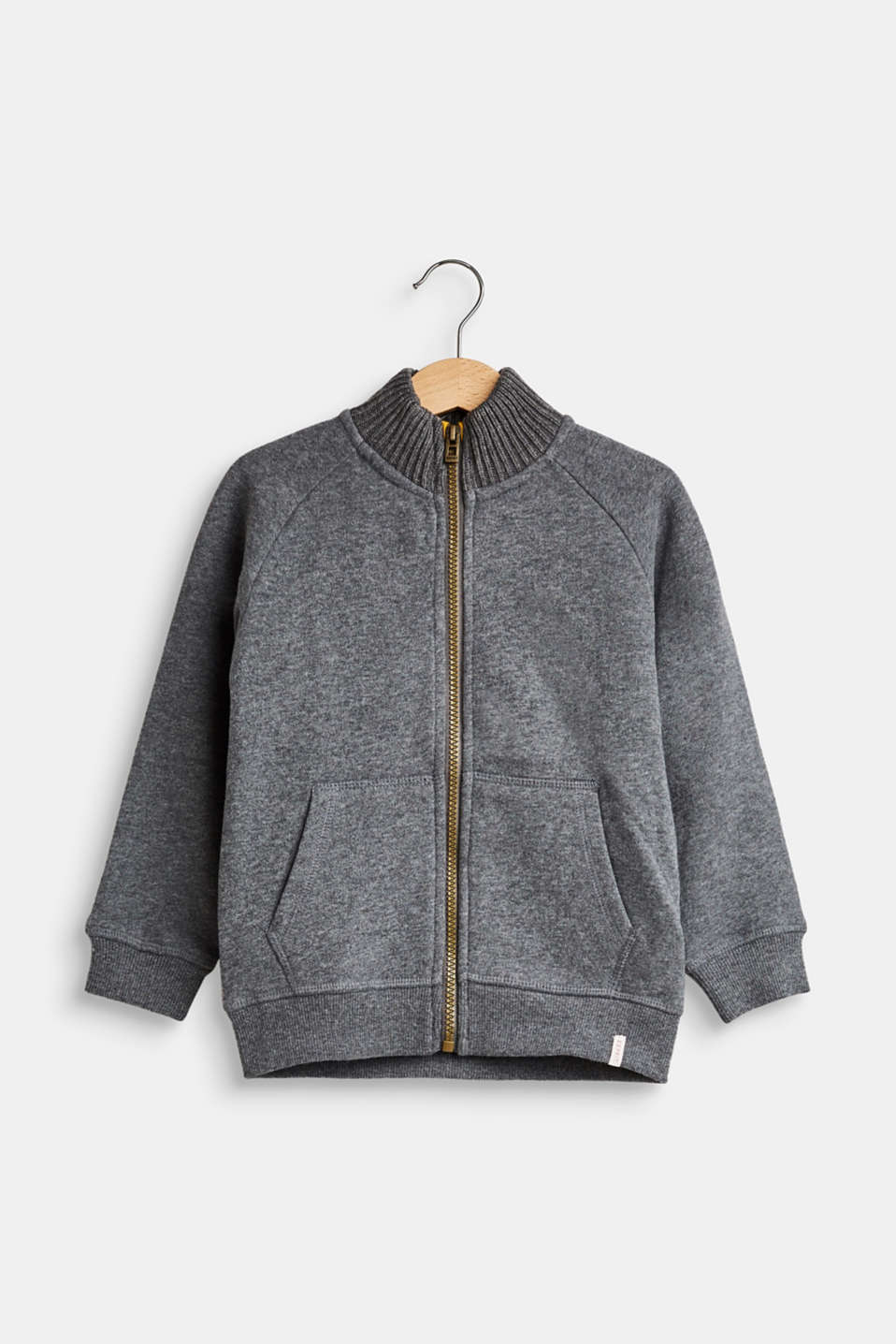 Esprit - Sweatshirt fabric jacket with a zip, 100% cotton