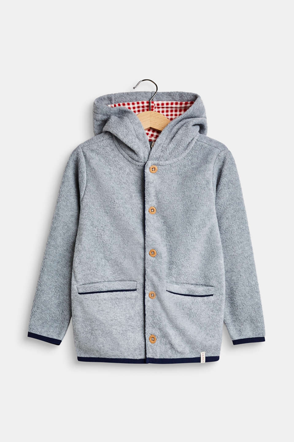 Esprit Fleece jacket with a hood and checked lining at our