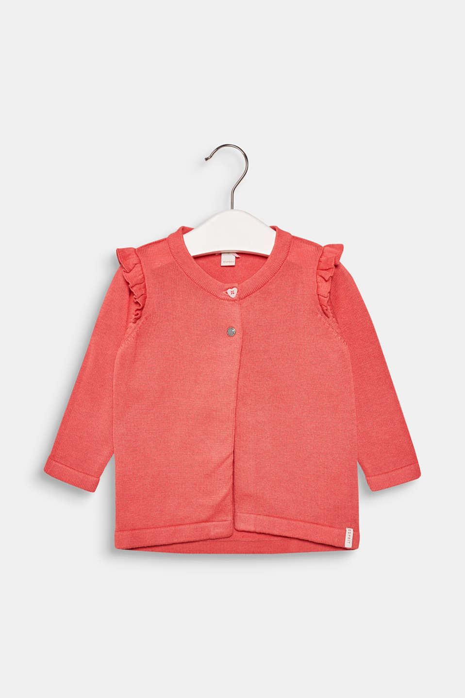 Esprit - Fine knit cardigan with frills, 100% cotton