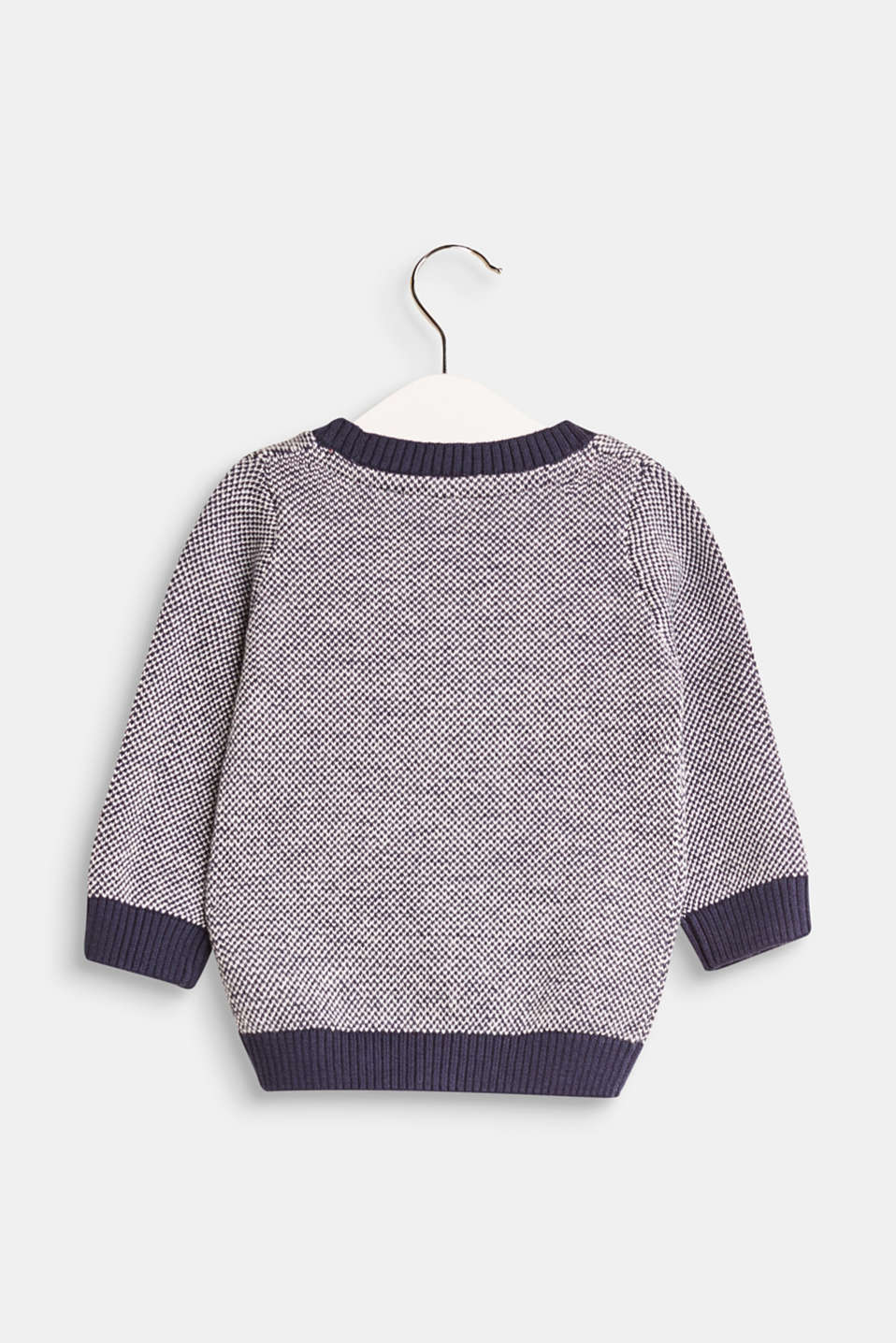 Cardigan in two-tone knit fabric, 100% cotton