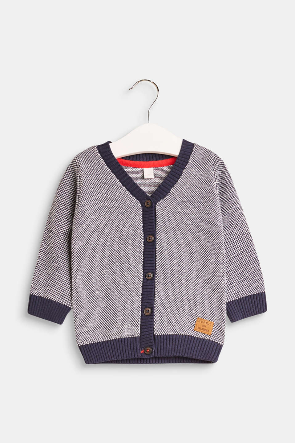 Esprit - Cardigan in two-tone knit fabric, 100% cotton