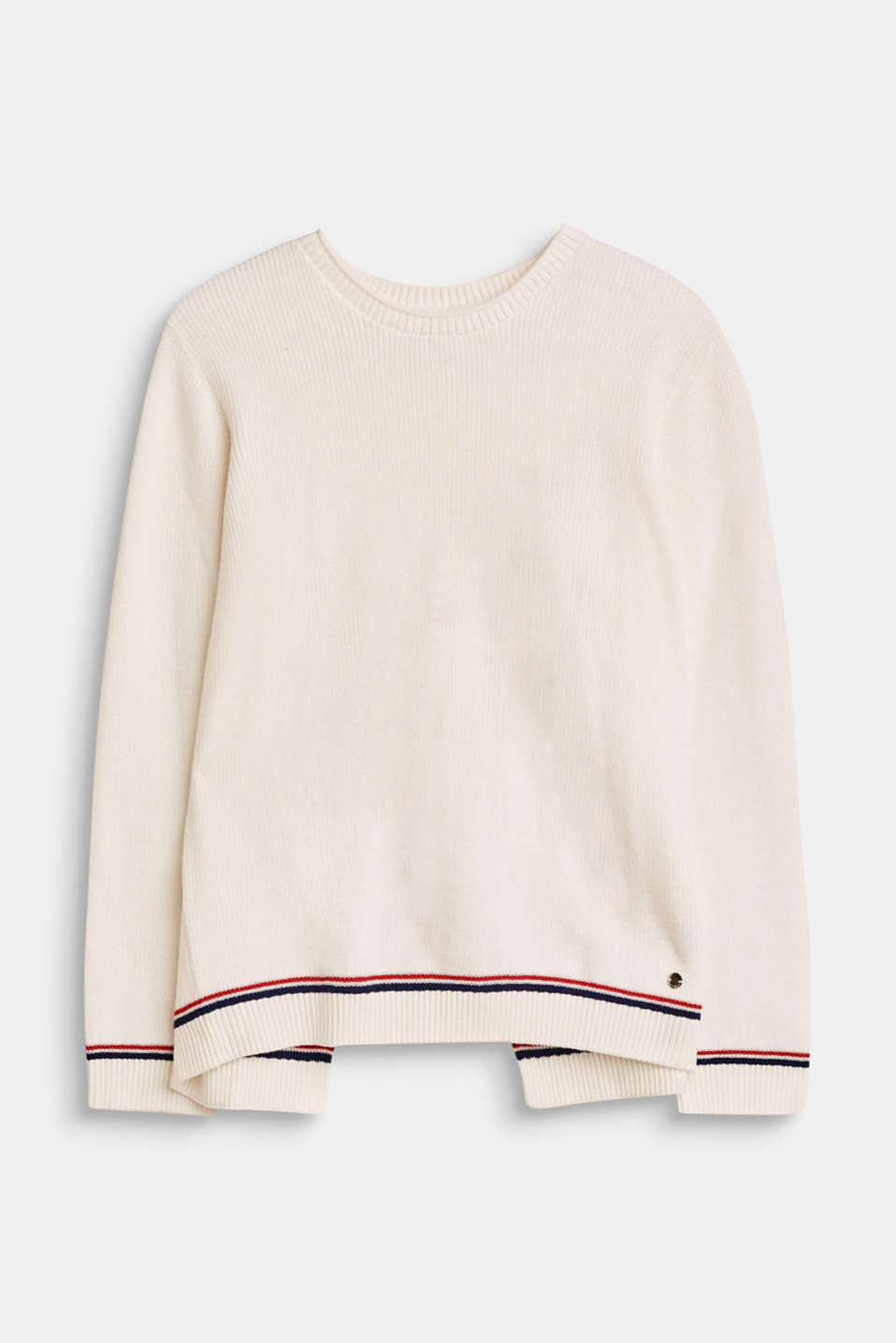 Esprit - Rib knit jumper with a layered back, cotton