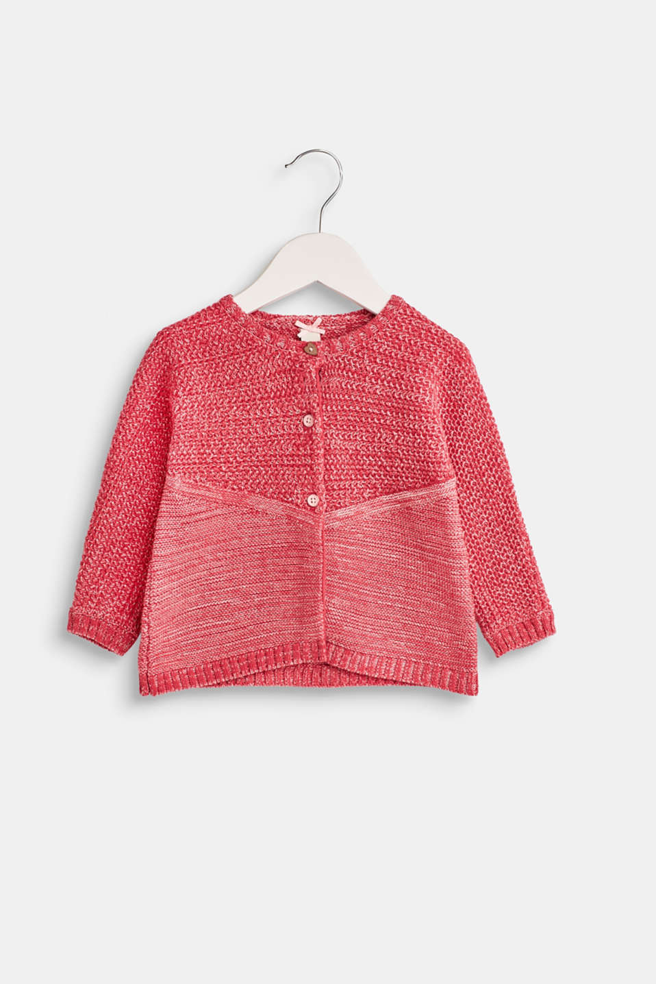 Esprit - Melange sweatshirt cardigan, 100% cotton