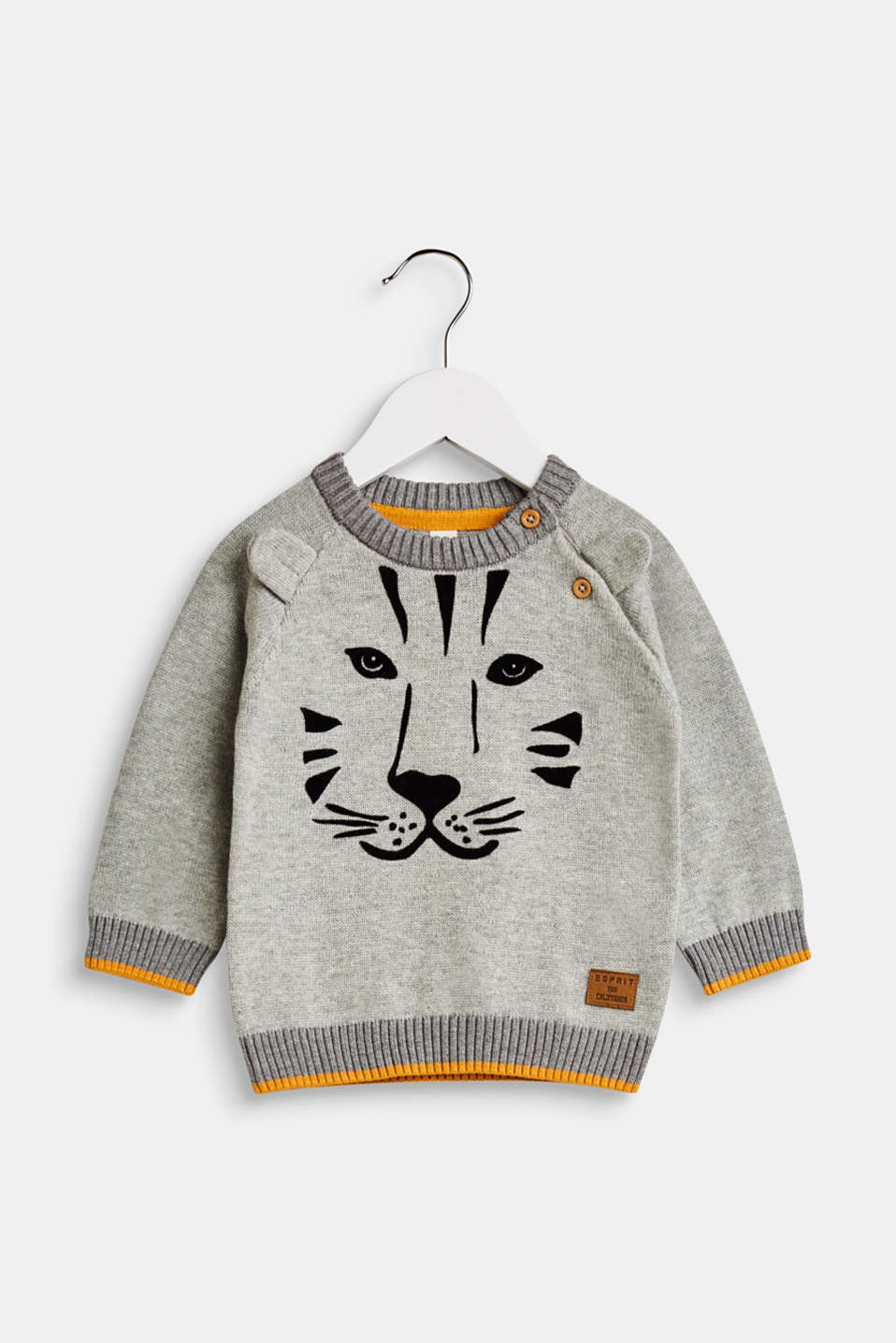 Esprit - Jumper with a tiger head, 100% cotton