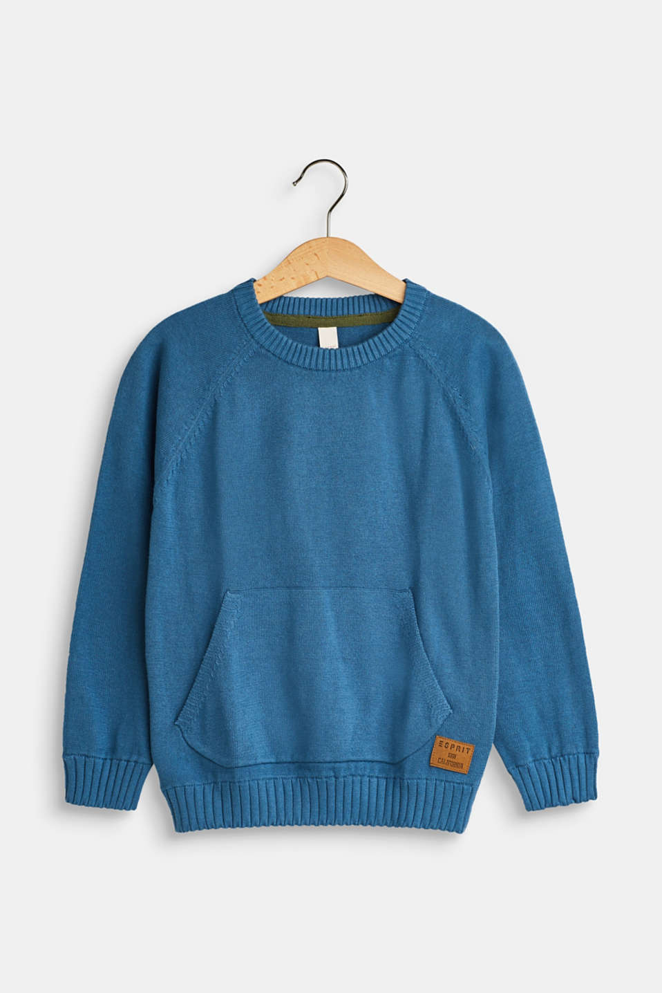 Esprit - Knitted jumper with a kangaroo pocket, 100% cotton