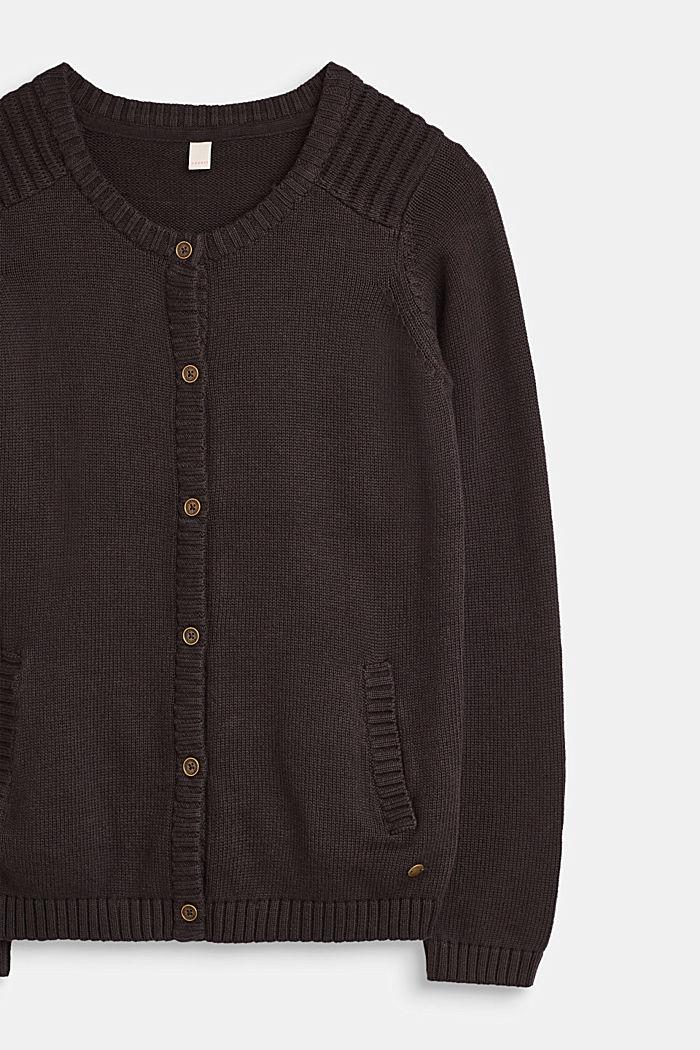 Strick-Cardigan, 100% Baumwolle, GREY ANTHRACIT, detail image number 2