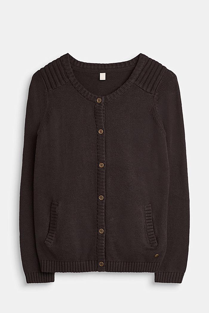 Strick-Cardigan, 100% Baumwolle, GREY ANTHRACIT, detail image number 0