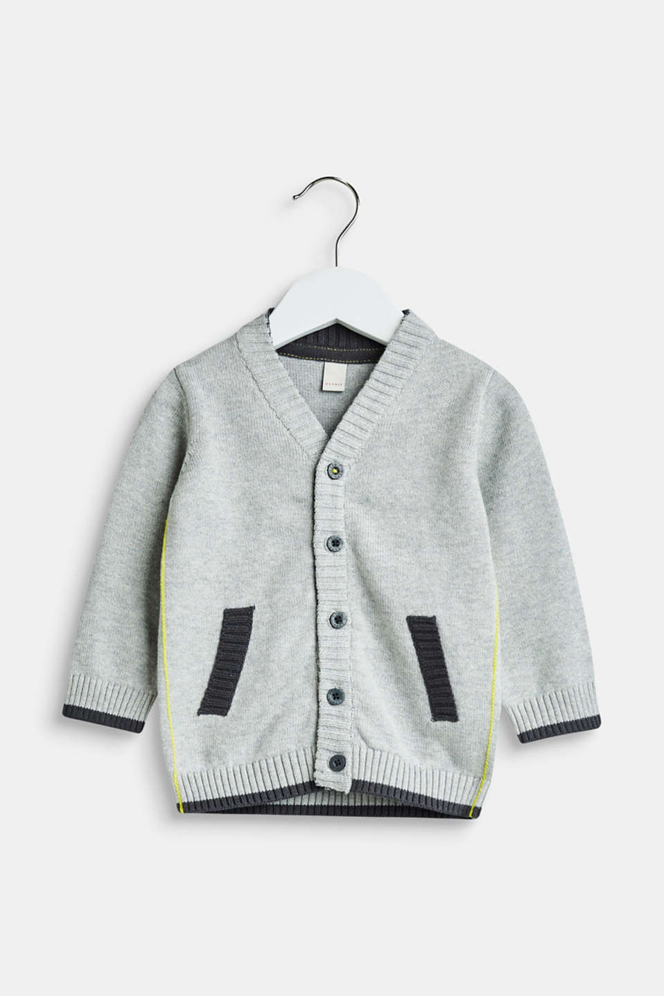 Esprit - Cardigan with elbow patches and piping